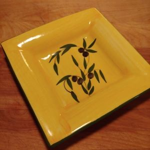 Painted Olive Oil Pottery Dish